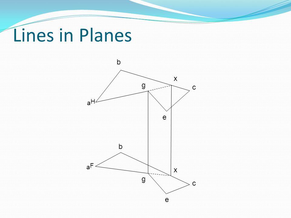 Lines in Planes b x g c aH e b aF x g c e