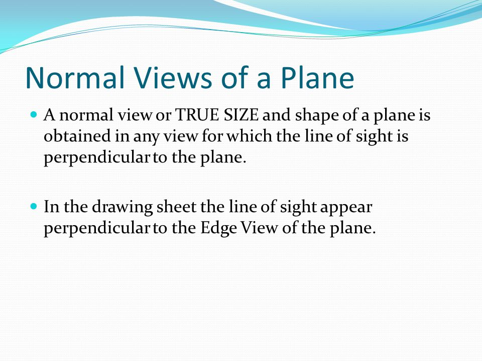 Normal Views of a Plane