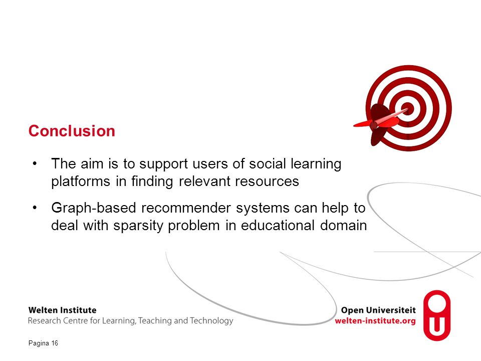 Conclusion The aim is to support users of social learning platforms in finding relevant resources.