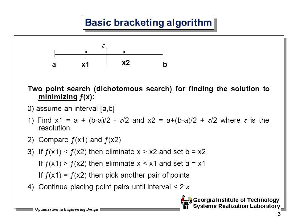Basic bracketing algorithm