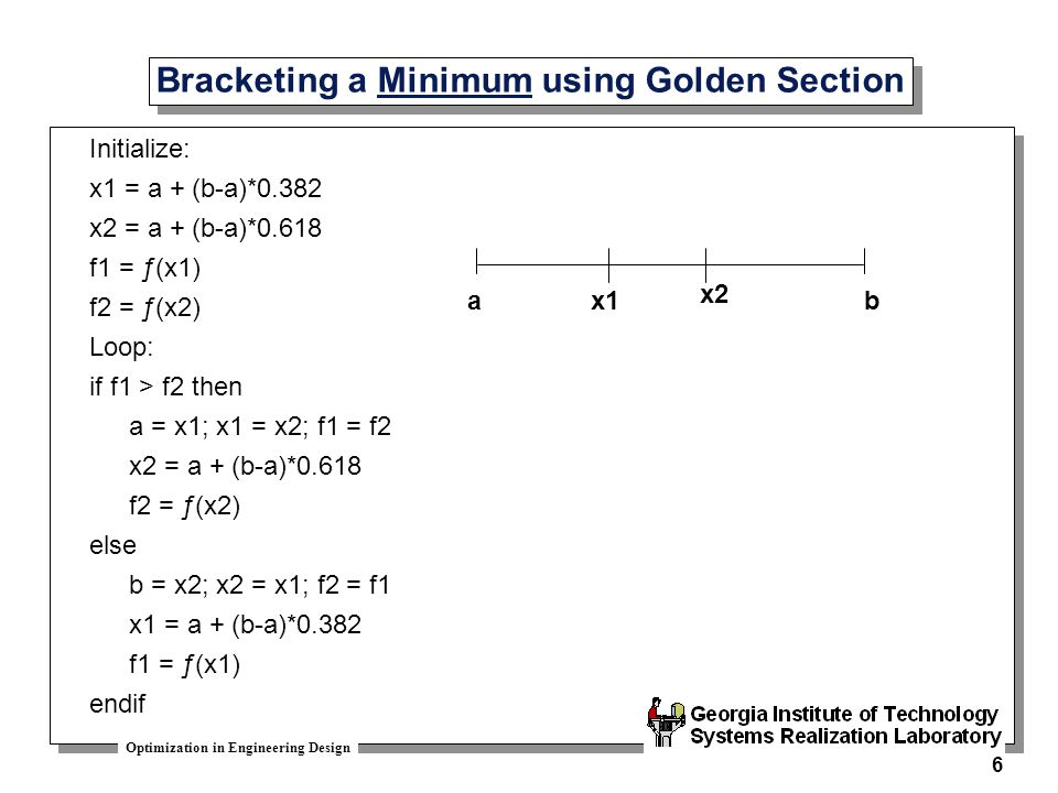 Bracketing a Minimum using Golden Section