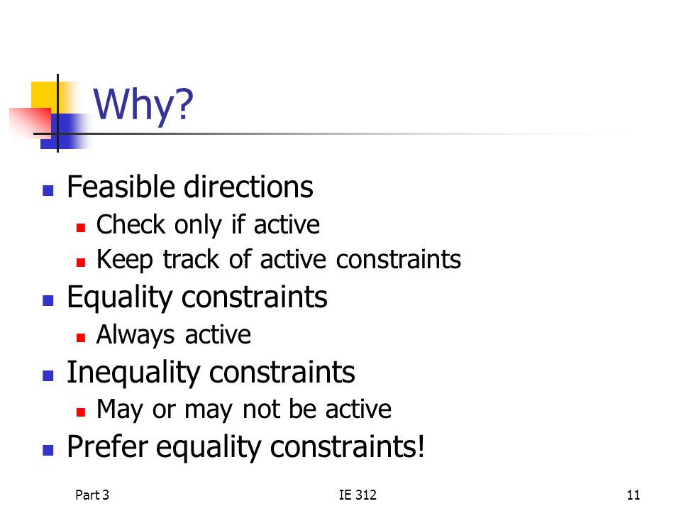 Why Feasible directions Equality constraints Inequality constraints