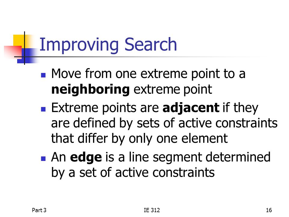 Improving Search Move from one extreme point to a neighboring extreme point.