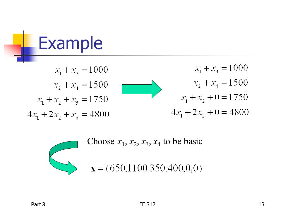 Example Choose x1, x2, x3, x4 to be basic Part 3 IE 312