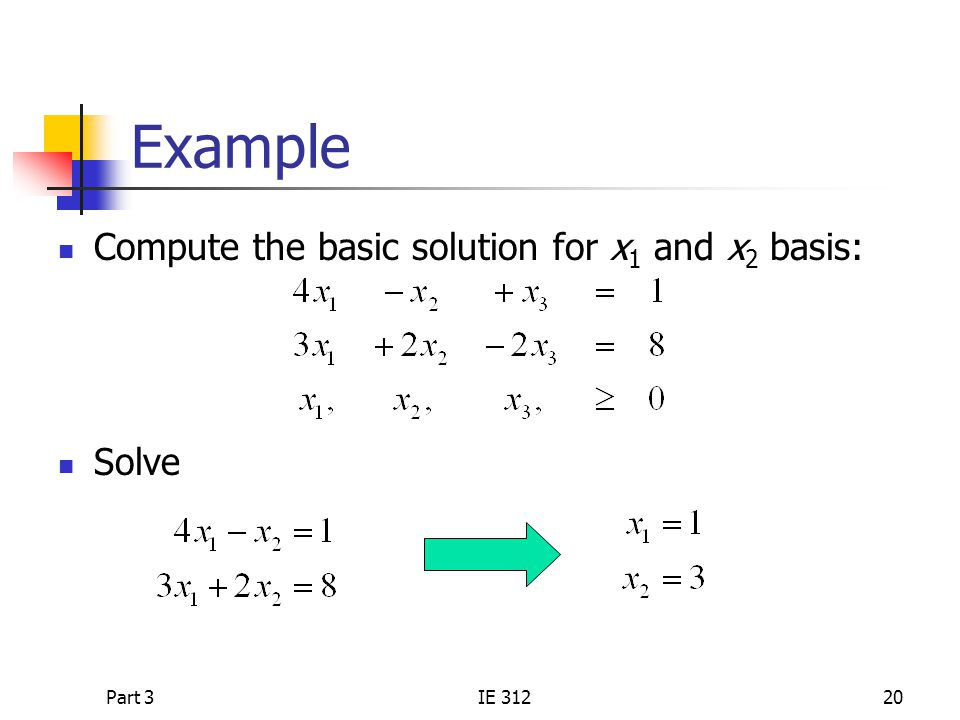 Example Compute the basic solution for x1 and x2 basis: Solve Part 3