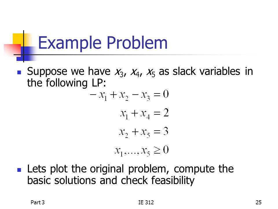Example Problem Suppose we have x3, x4, x5 as slack variables in the following LP: