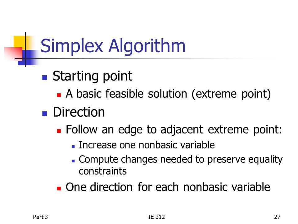 Simplex Algorithm Starting point Direction