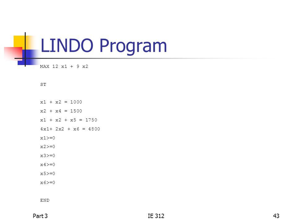 LINDO Program Part 3 IE 312 MAX 12 x1 + 9 x2 ST x1 + x2 = 1000