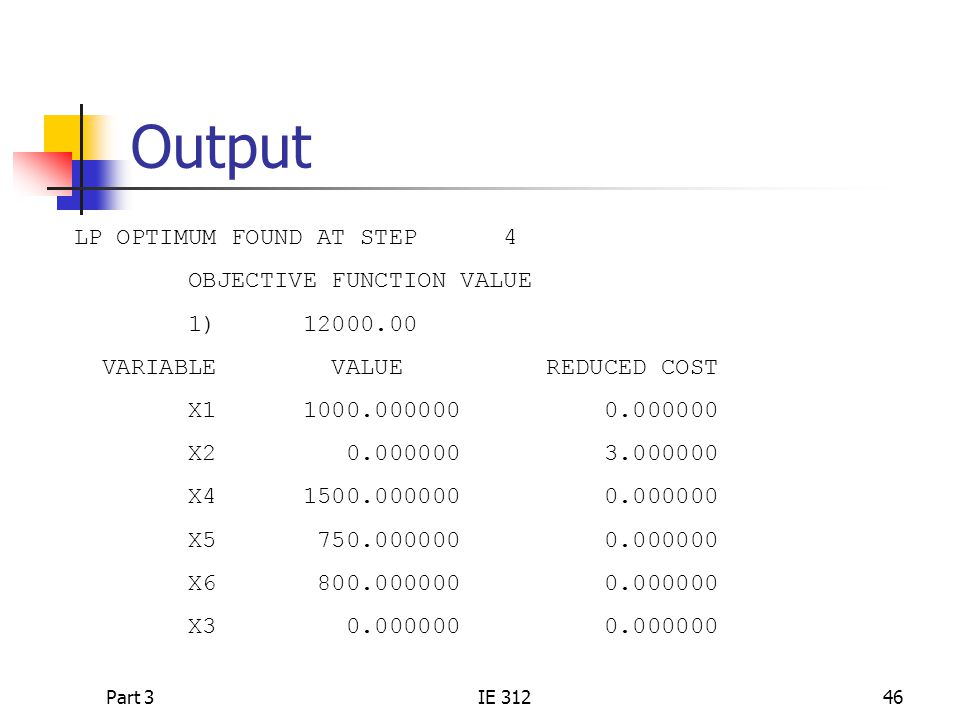 Output LP OPTIMUM FOUND AT STEP 4 OBJECTIVE FUNCTION VALUE 1) 12000.00