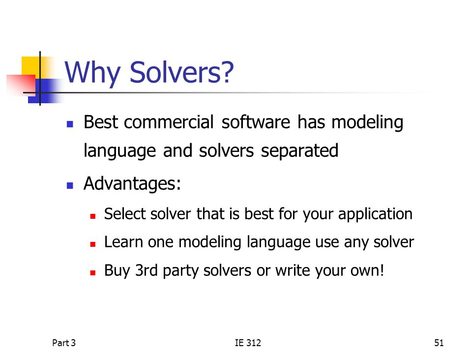 Why Solvers Best commercial software has modeling language and solvers separated. Advantages: Select solver that is best for your application.