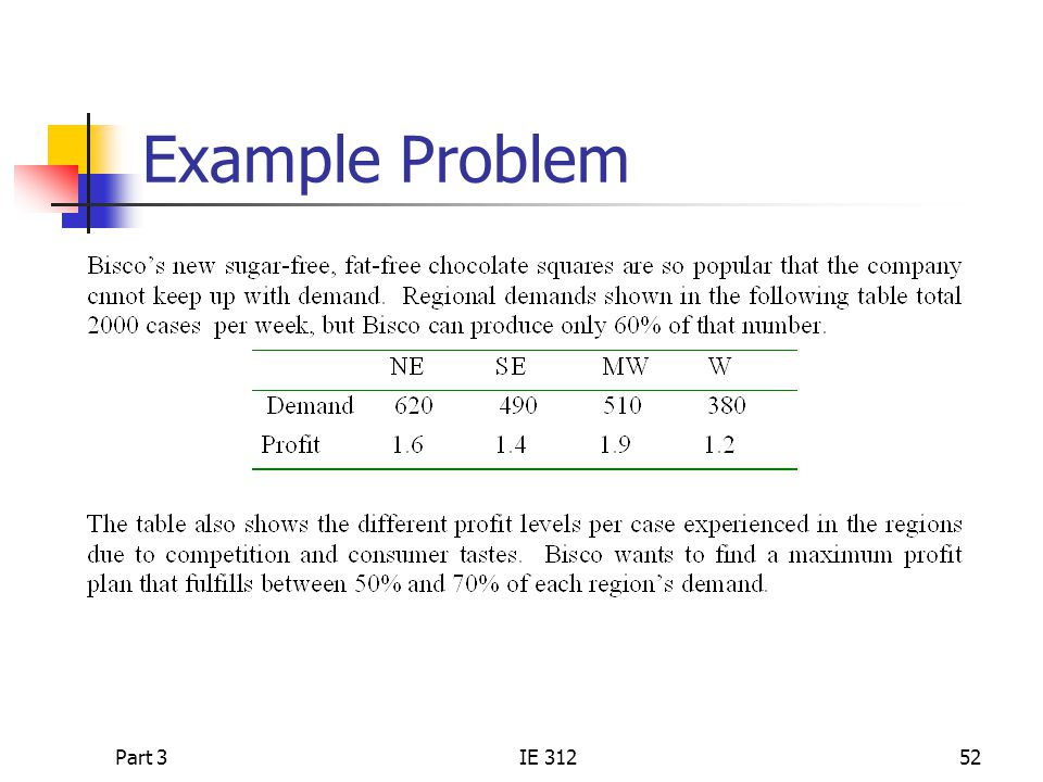 Example Problem Part 3 IE 312