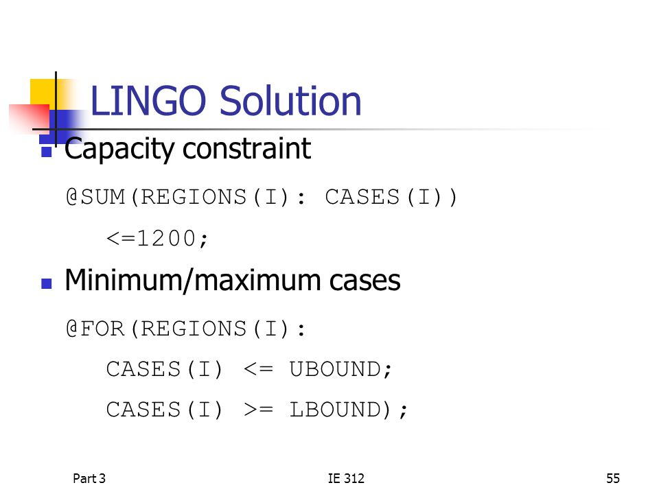 LINGO Solution Capacity constraint @SUM(REGIONS(I): CASES(I))