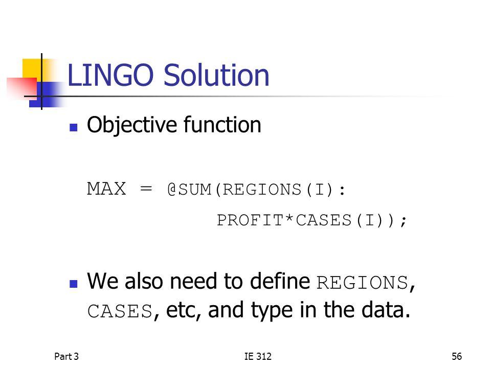 LINGO Solution Objective function MAX = @SUM(REGIONS(I):