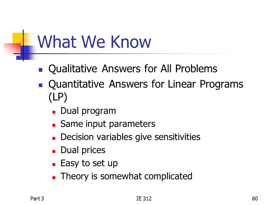 What We Know Qualitative Answers for All Problems