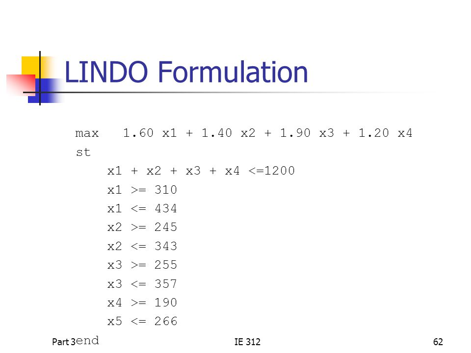 LINDO Formulation max 1.60 x1 + 1.40 x2 + 1.90 x3 + 1.20 x4 st