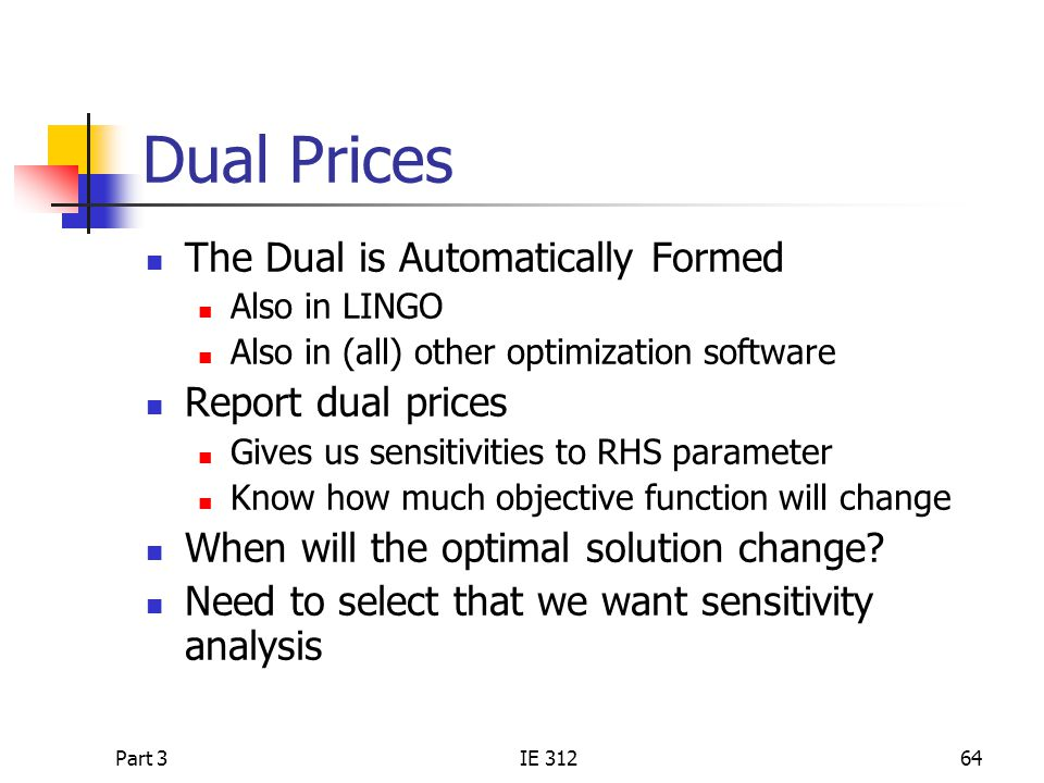 Dual Prices The Dual is Automatically Formed Report dual prices