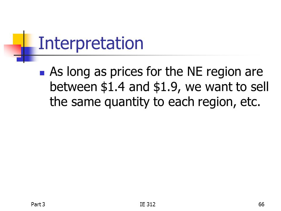 Interpretation As long as prices for the NE region are between $1.4 and $1.9, we want to sell the same quantity to each region, etc.