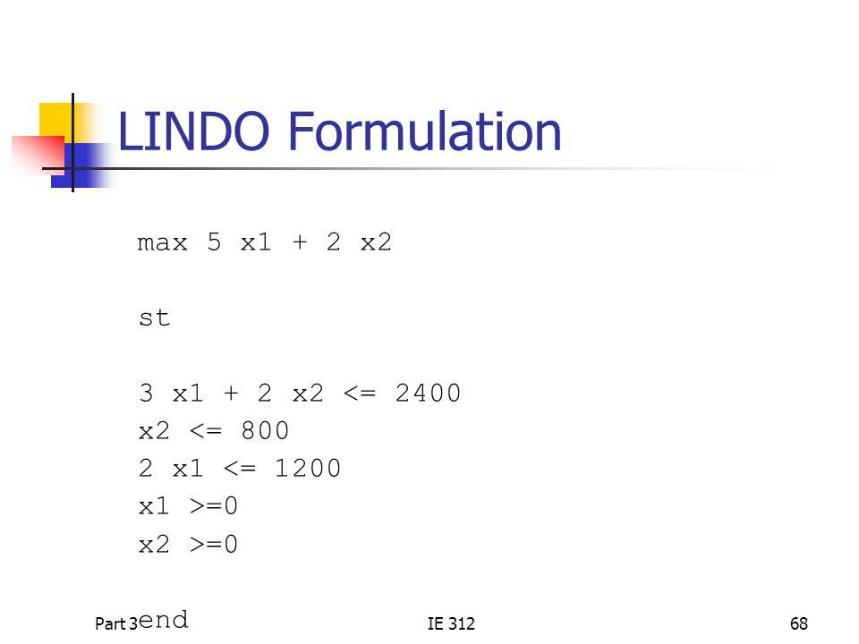 LINDO Formulation max 5 x1 + 2 x2 st 3 x1 + 2 x2 <= 2400