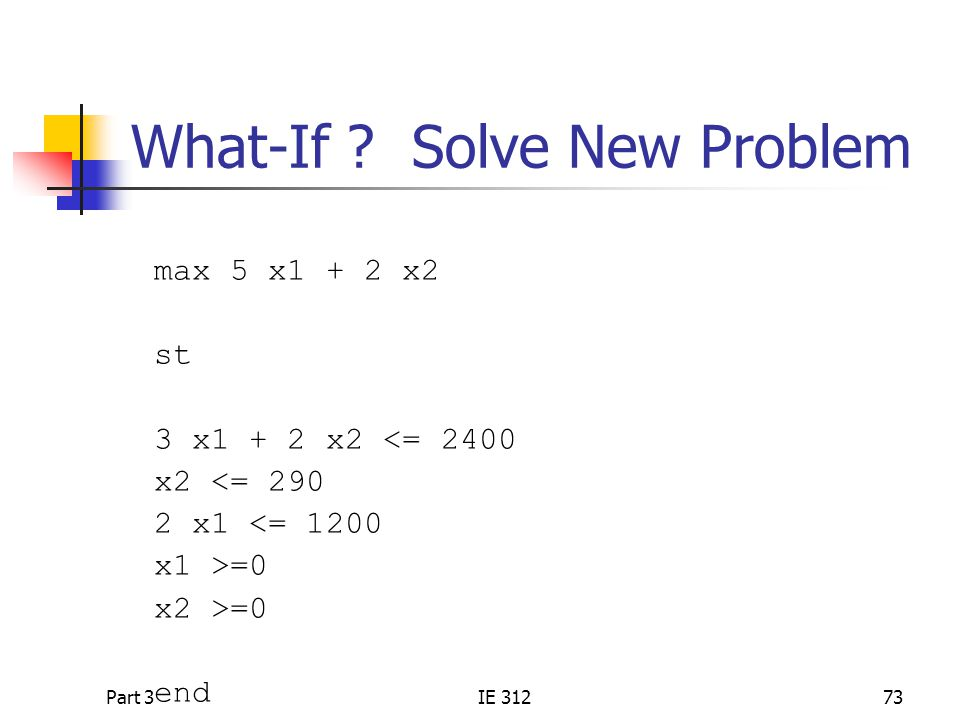 What-If Solve New Problem