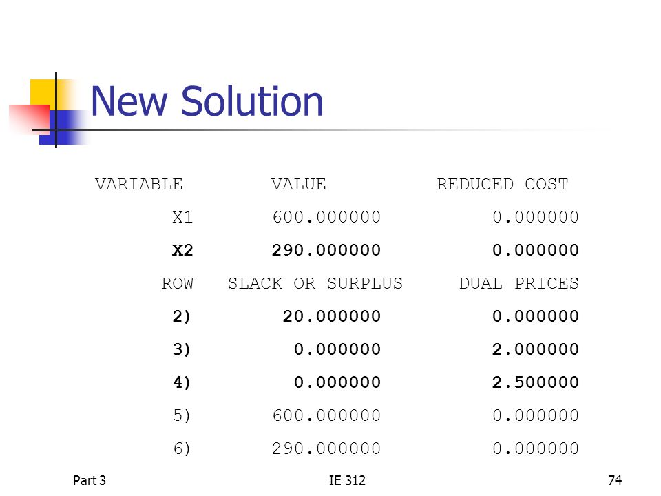 New Solution VARIABLE VALUE REDUCED COST X1 600.000000 0.000000