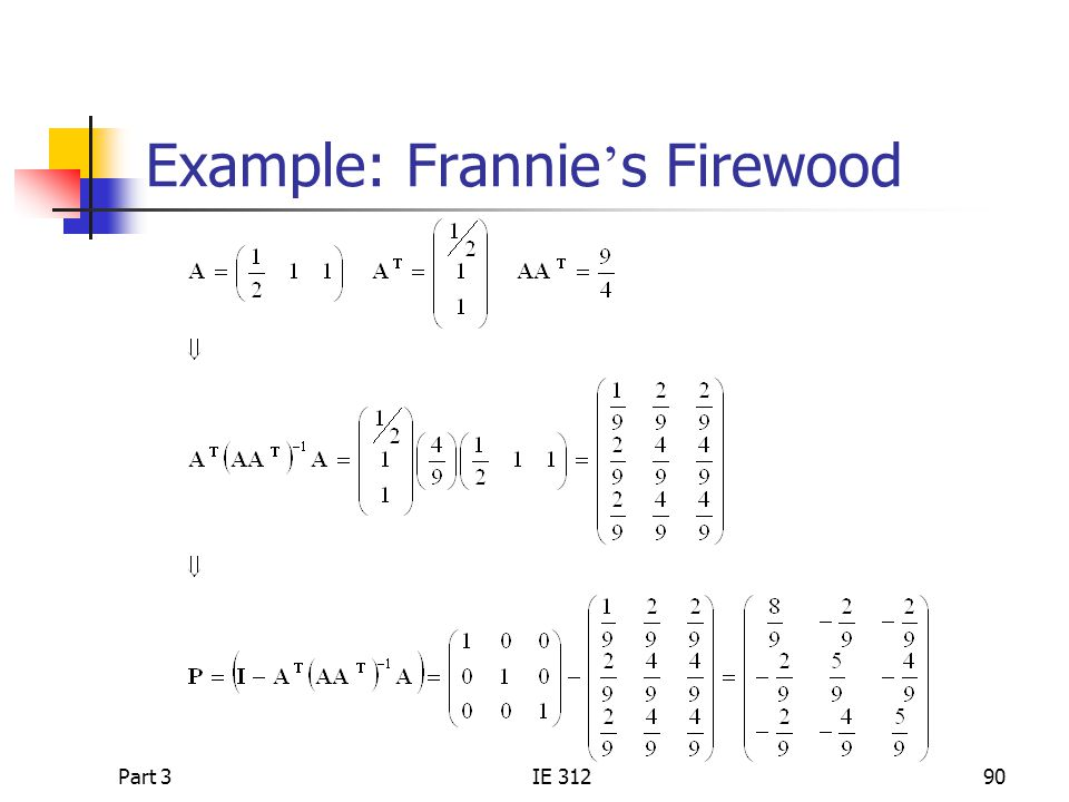 Example: Frannie's Firewood