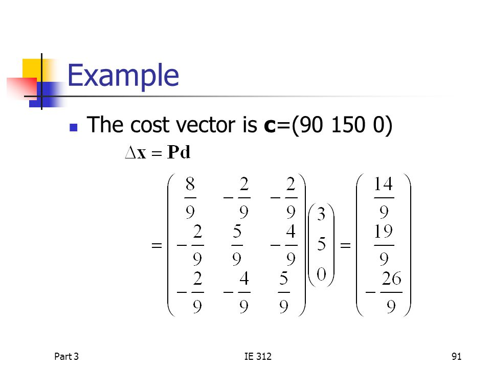 Example The cost vector is c=(90 150 0) Part 3 IE 312