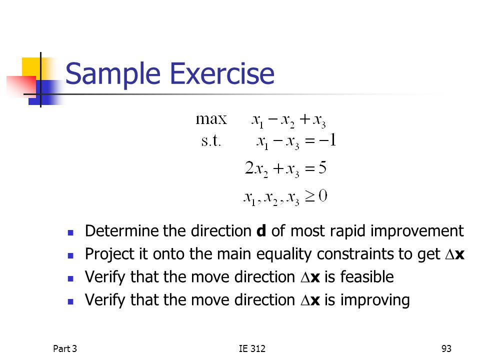 Sample Exercise Determine the direction d of most rapid improvement