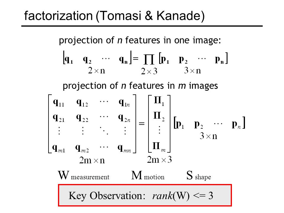 factorization (Tomasi & Kanade)