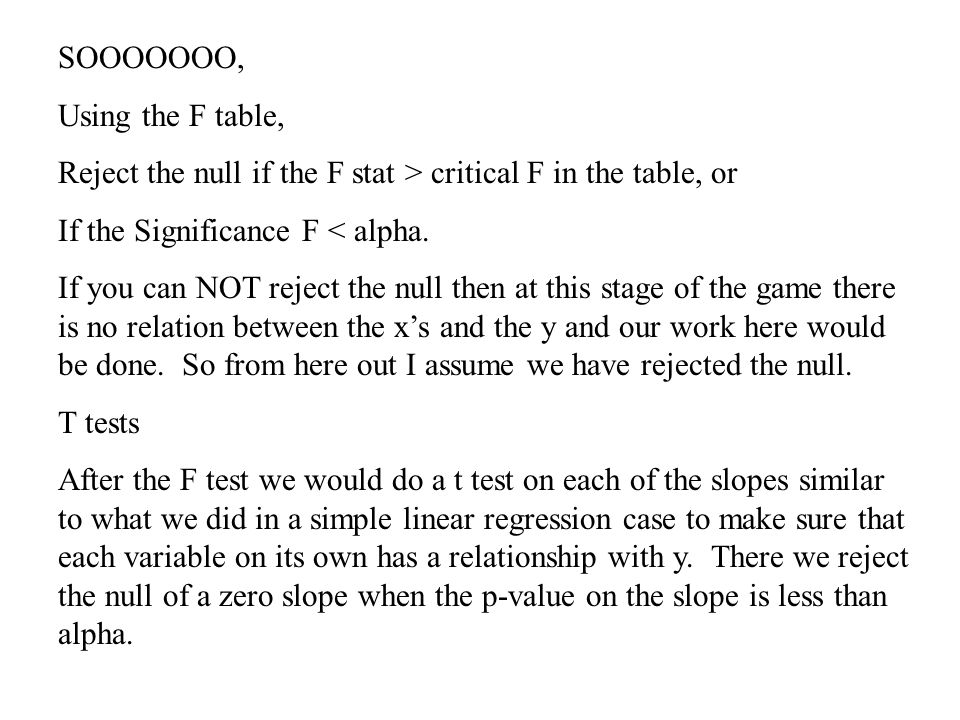 SOOOOOOO, Using the F table, Reject the null if the F stat > critical F in the table, or. If the Significance F < alpha.
