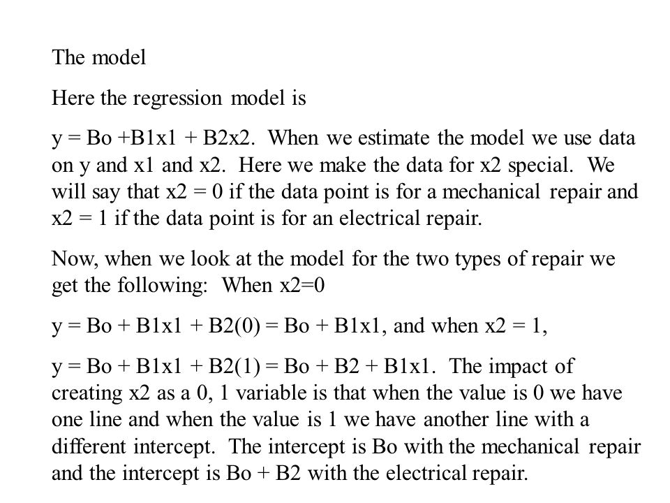 The model Here the regression model is.