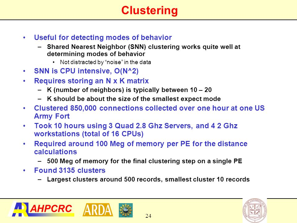 Clustering Useful for detecting modes of behavior