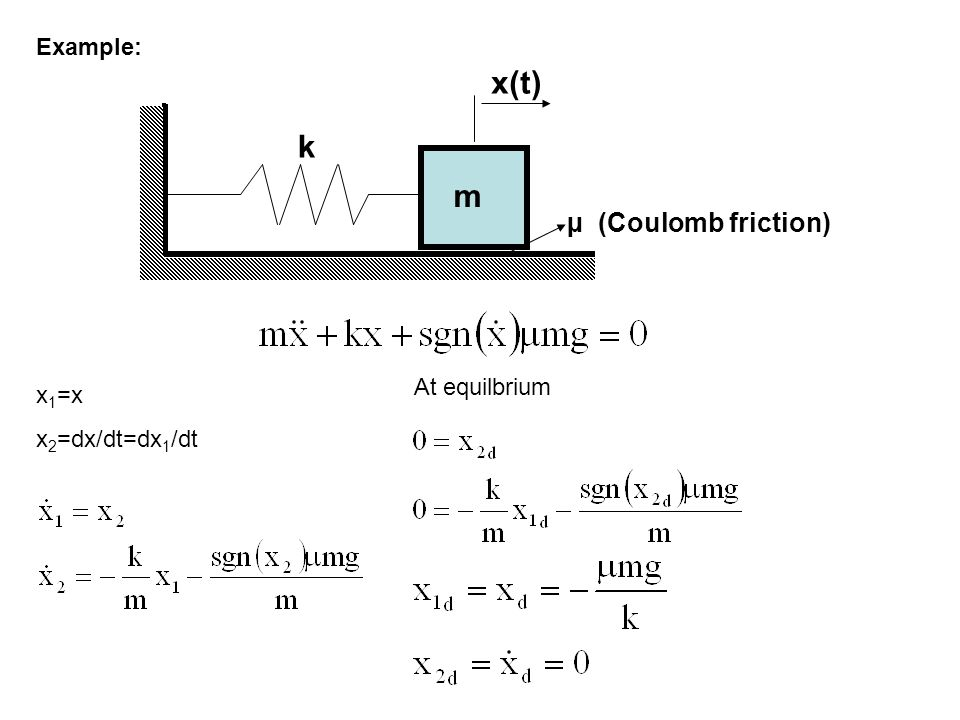 x(t) k m µ (Coulomb friction) Example: At equilbrium x1=x