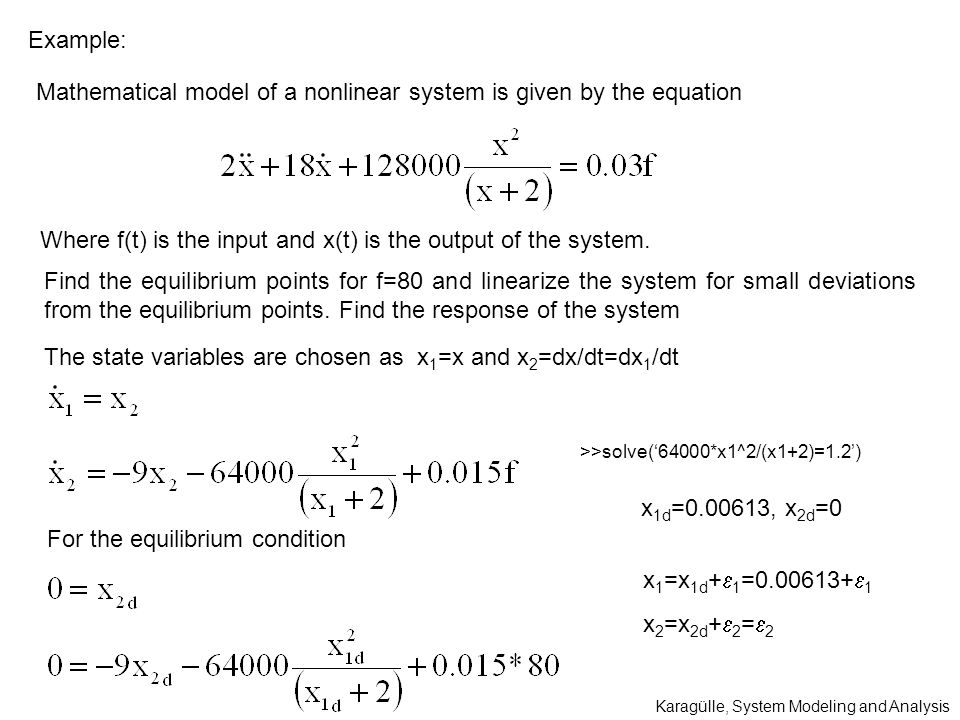 Mathematical model of a nonlinear system is given by the equation