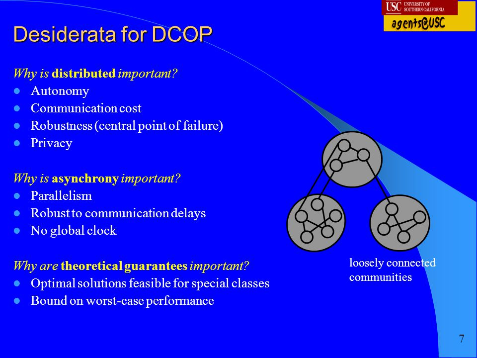 Desiderata for DCOP Why is distributed important Autonomy