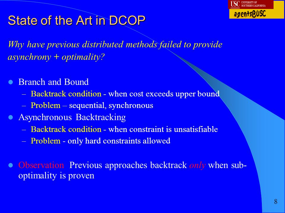 State of the Art in DCOP Why have previous distributed methods failed to provide. asynchrony + optimality