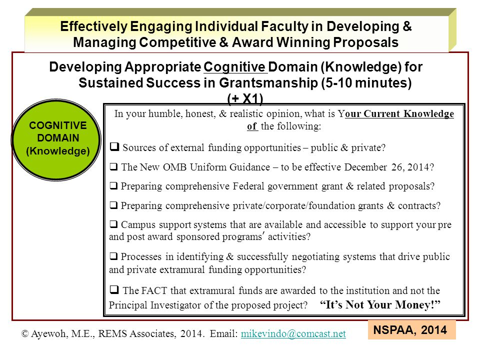 Developing Appropriate Cognitive Domain (Knowledge) for