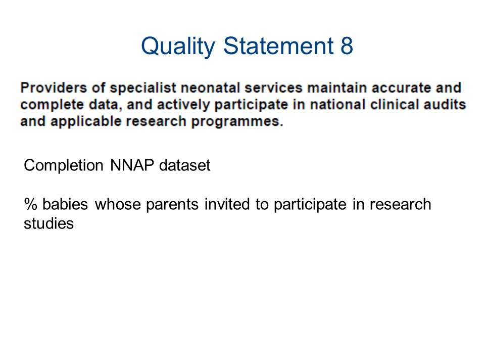 Quality Statement 8 Completion NNAP dataset