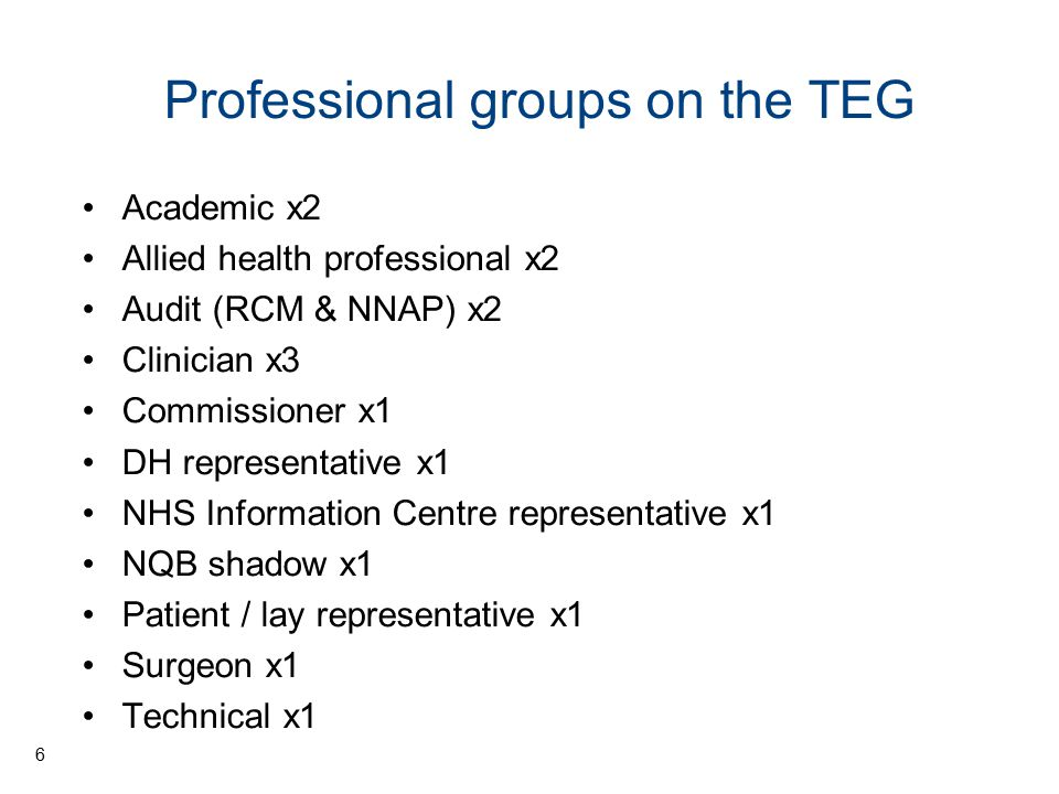 Professional groups on the TEG