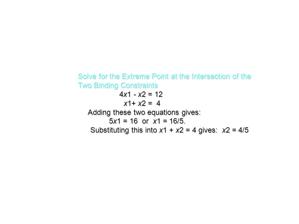 Solve for the Extreme Point at the Intersection of the Two Binding Constraints