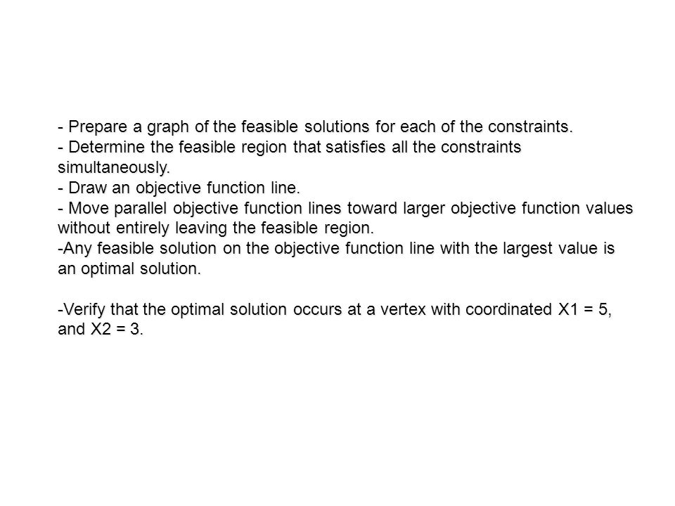 - Prepare a graph of the feasible solutions for each of the constraints.