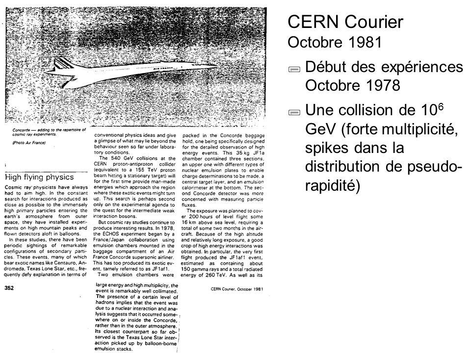 CERN Courier Octobre 1981 Début des expériences Octobre 1978