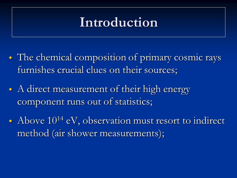 Introduction The chemical composition of primary cosmic rays furnishes crucial clues on their sources;