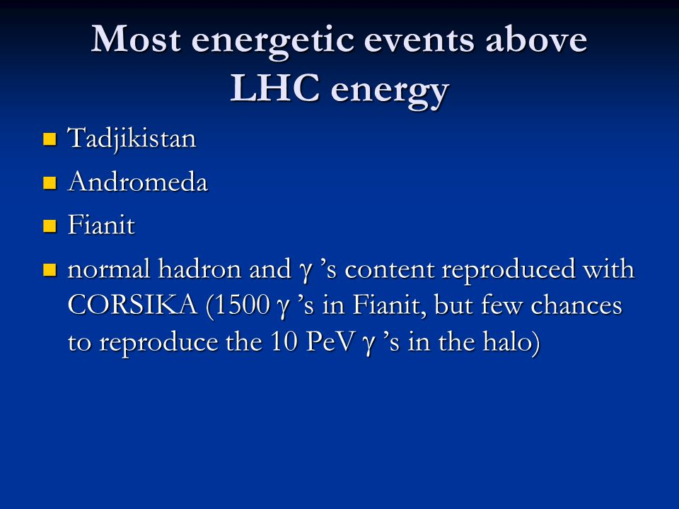 Most energetic events above LHC energy