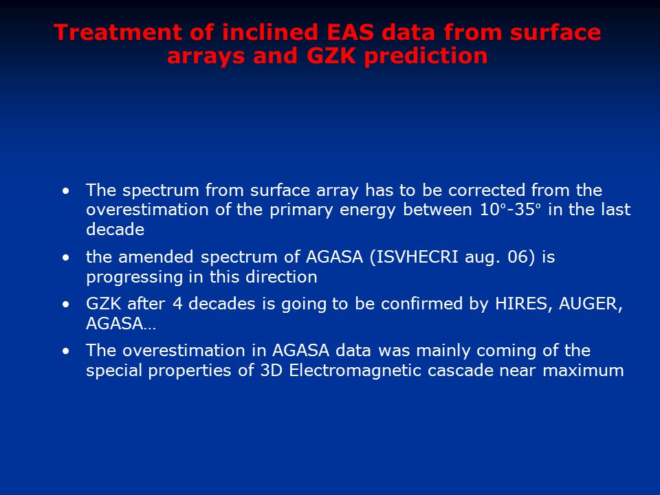 Treatment of inclined EAS data from surface arrays and GZK prediction