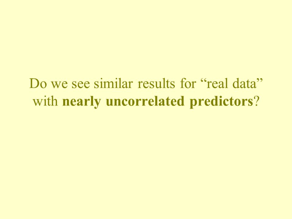 Do we see similar results for real data with nearly uncorrelated predictors