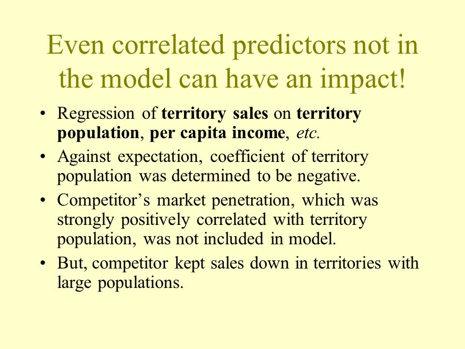 Even correlated predictors not in the model can have an impact!