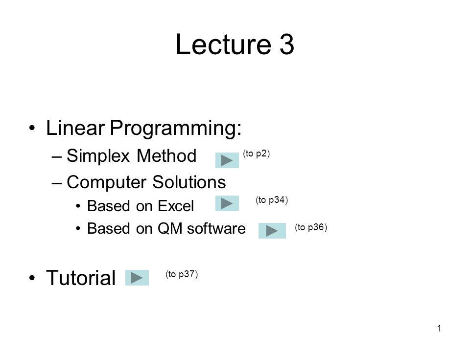 Lecture 3 Linear Programming: Tutorial Simplex Method