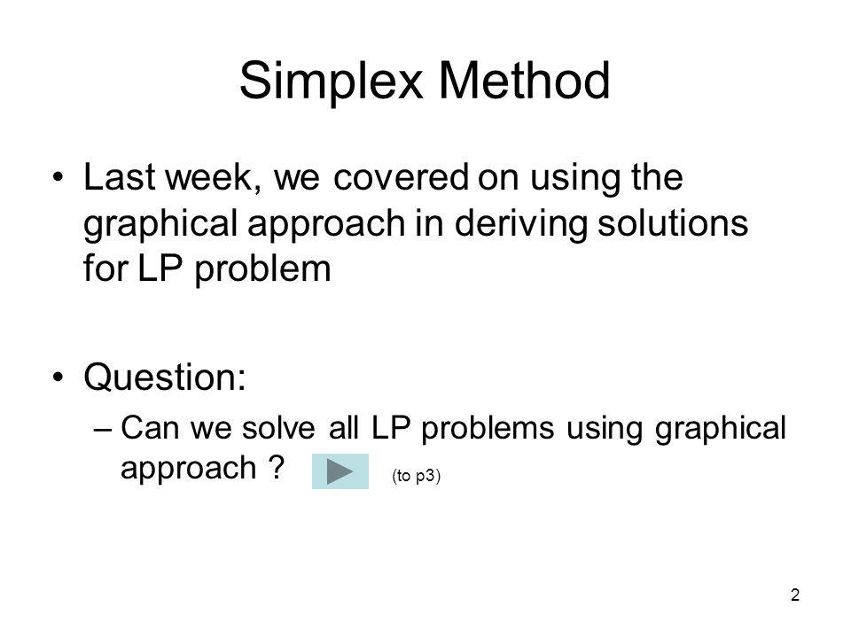 Simplex Method Last week, we covered on using the graphical approach in deriving solutions for LP problem.