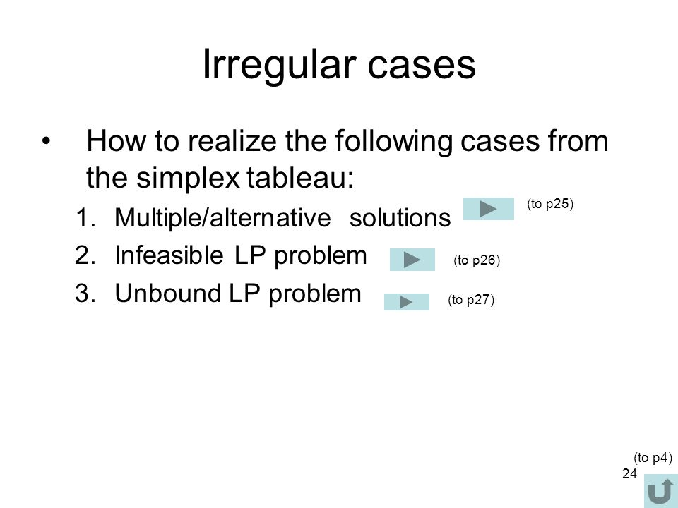 Irregular cases How to realize the following cases from the simplex tableau: Multiple/alternative solutions.