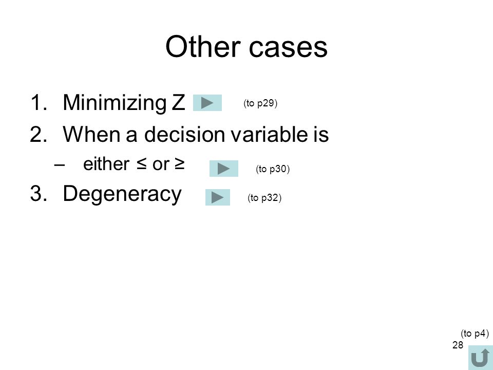 Other cases Minimizing Z When a decision variable is Degeneracy